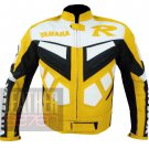 Yamaha R Yellow Pure Genuine Cowhide Leather Motorcycle Jacket For Bikers