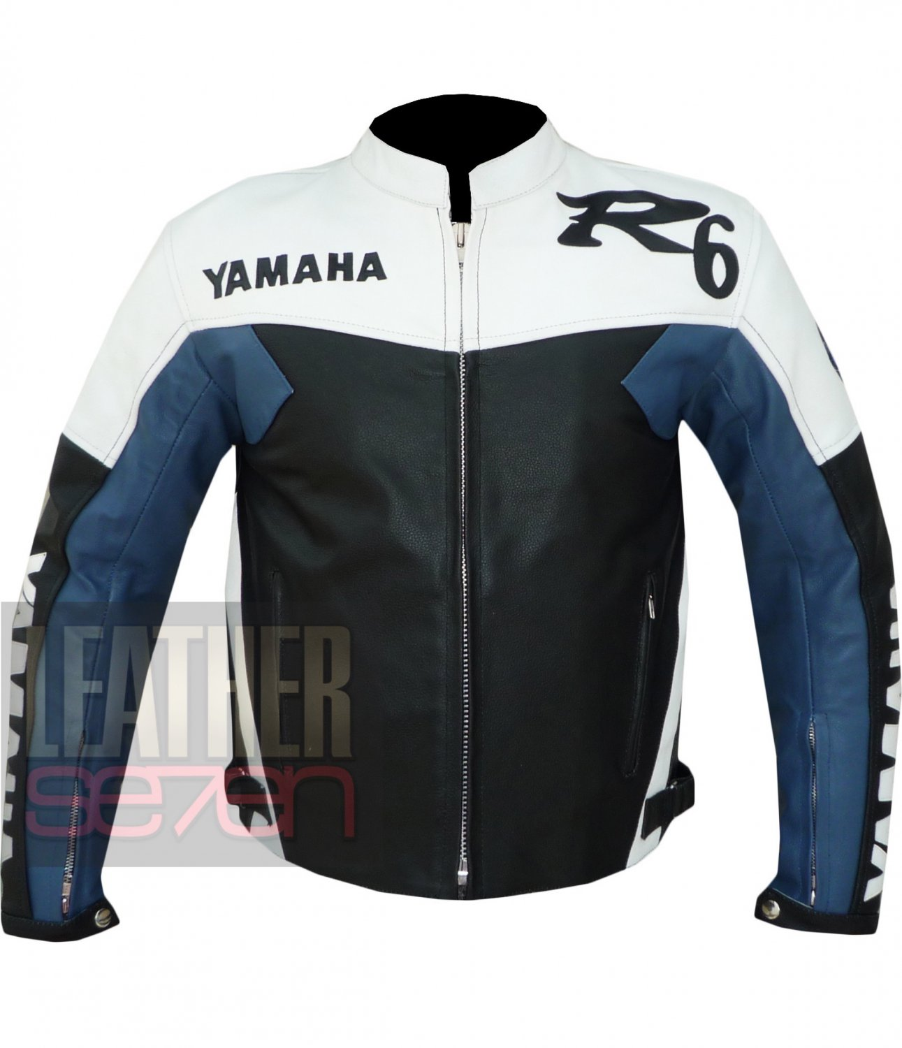 New Fashion Arrival Racing Cowhide Leather Jackets . Yamaha R6 Blue Coat