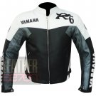 Vintage Motorcycle Jacket .. Yamaha R6 Grey Pure Cowhide Leather Coat For Bikers
