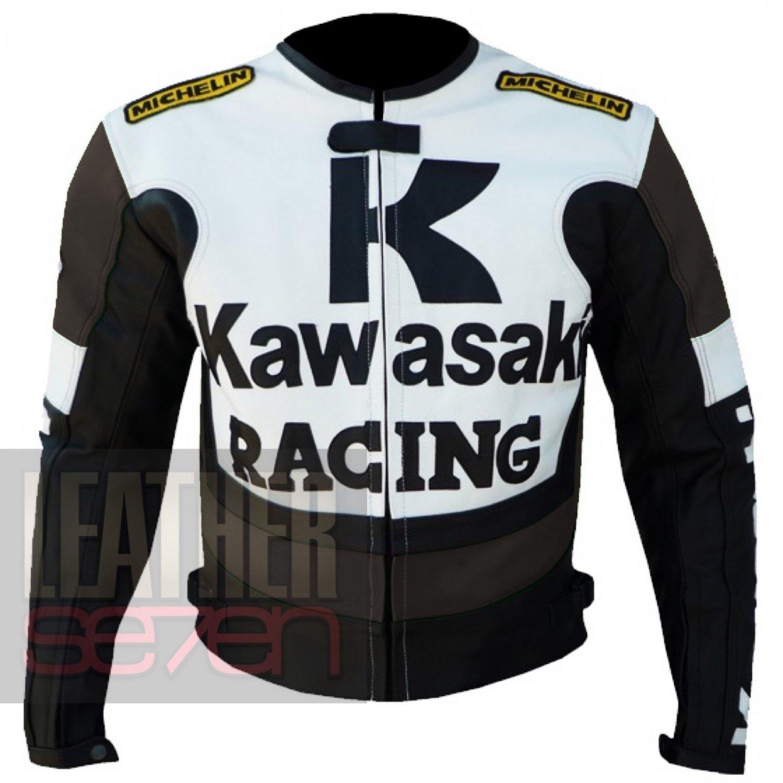 Best Biker Jackets .. New Arrival Of Cowhide Leather Coats . Kawasaki 1 Brown