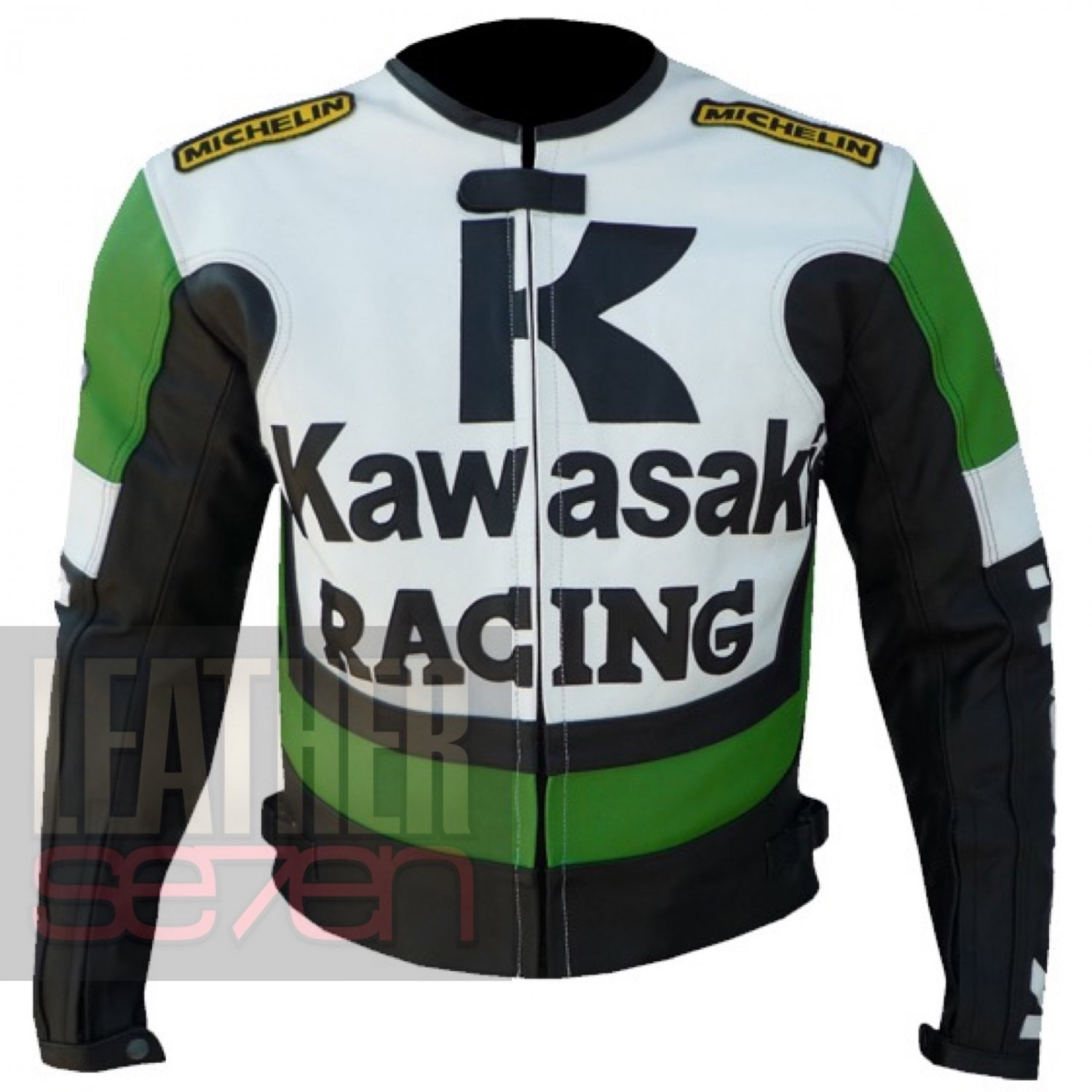 Safety Jackets For Men With Pure Cowhide Leather .. Kawasaki 1 Green Coats