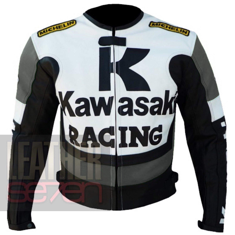 Kawasaki 1 grey  New Fashion Leather Pure Cowhide Racing Coats For Bikers