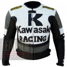 Kawasaki 1 grey  New Fashion Leather Pure Cowhide Racing Coats For Bikers