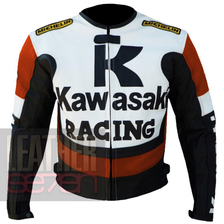 Best Quality Jacket On Cheap Prices .. Kawasaki 1 Orange Bikers Coats