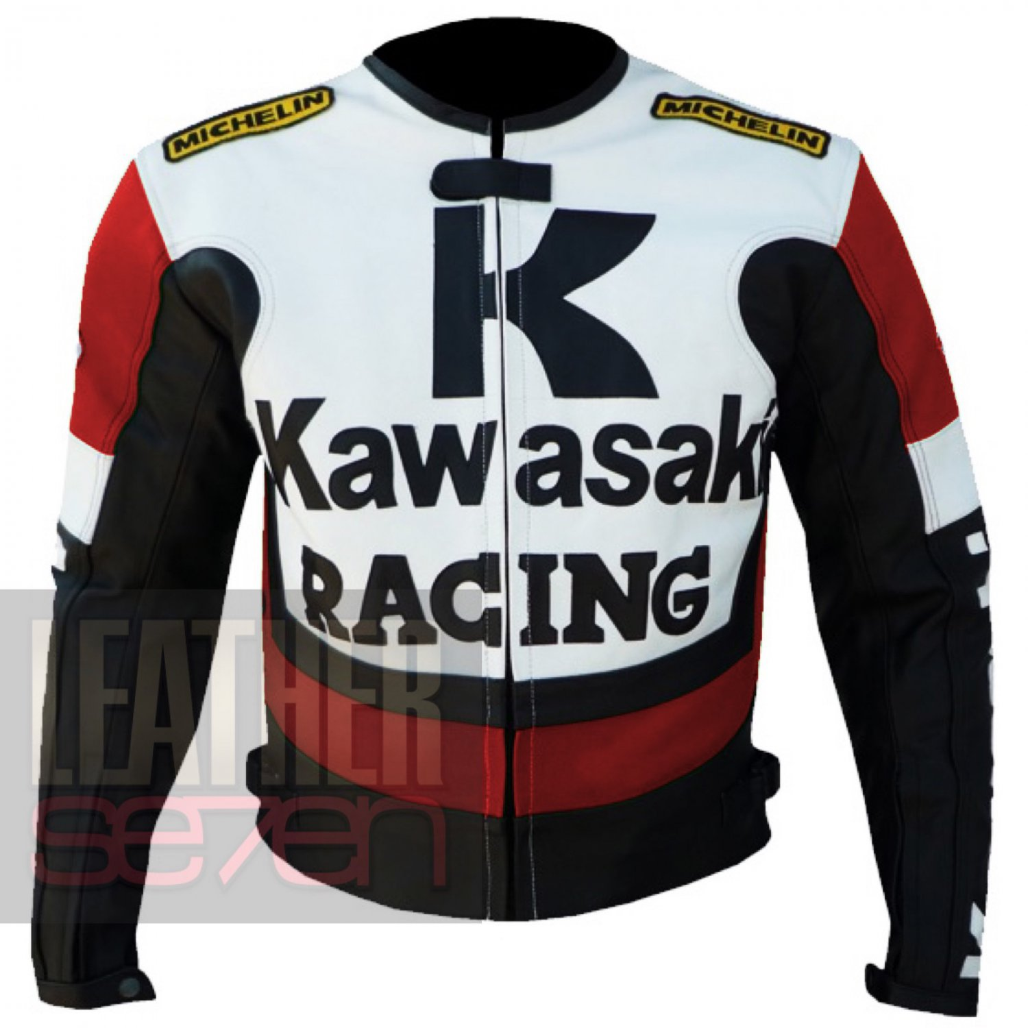 Kawasaki 1 Red Pure Cowhide Leather Safety Racing Jacket For Bike Racers ..