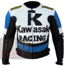 Bikers Safety Armour Racing Jacket .. Kawasaki 1 Sky Blue Cowhide Coat By Men