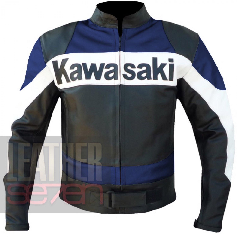 Best Quality Biker Jacket For Bikers .. Kawasaki 2020 Blue Racing Coat