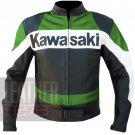 Pure Cowhide Leather Motorbike Jacket . Kawasaki 2020 Green Coat For Men .