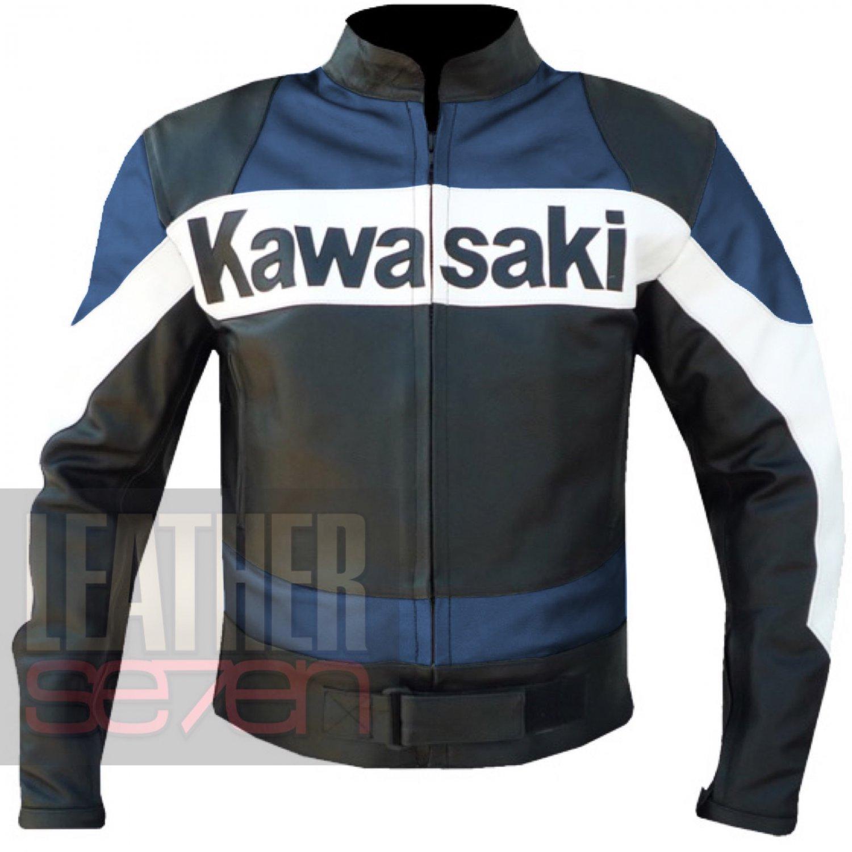 Cowhide Heated & Safety Coats For Bikers . Kawasaki 2020 Navy Blue Jacket