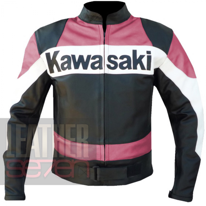 Kawasaki 2020 Pink Biker Armour Racing Cowhide Leather Jacket