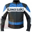 Kawasaki Sky Blue 2020 Real Cowhide Leather Coat . Motorcycle Jacket