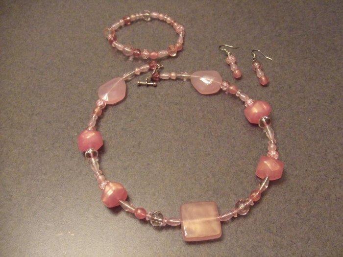 Pink stone choker