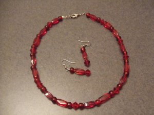 Red Ruby necklace and earrings