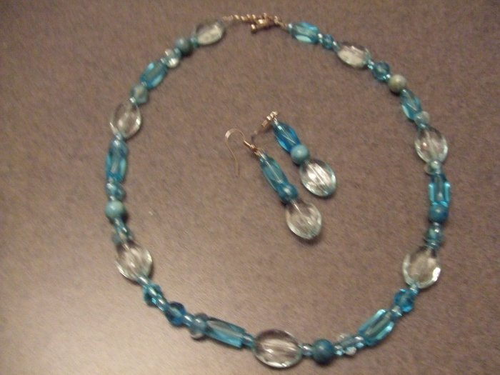 Deep aqua necklace and earrings
