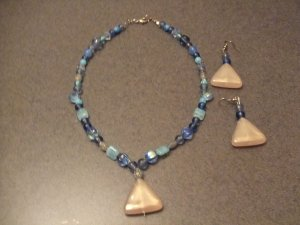 Tropical Blue sandstone necklace and earrings