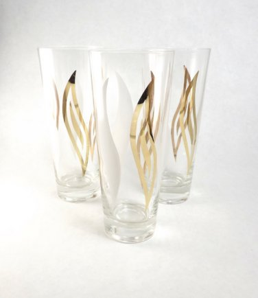 Set of 3 Clear Glass Tall Gold and White Flame Swirl Bar Beer Glasses, Retro Vintage Barware Cups