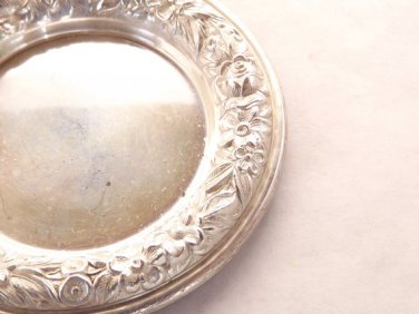 Metal Butter Pat Sterling Silver Dish Dresser Tray Jewelry Holder by S Kirk and Son Floral Repousse