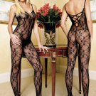 Lace Up Back Black Body Stocking