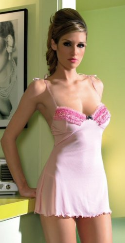 2 Piece Mesh Chemise with Ruffle Trimmed Cups & Polka Dot Satin Bow