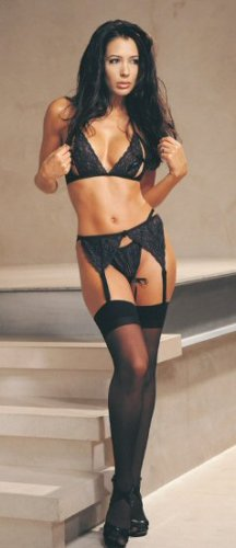 3 Piece Lace Peek a Boo Bra & Garter Set