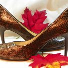Preview Intl Brown Metallic Snake Skin Print Leather High Stilettos- US Size 8.5M