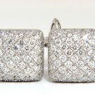 $9600 18KT Natural 4.80ct. Puff Dome diamonds Square Cufflinks Double sided G/VS