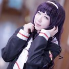 CARDCAPTOR SAKURA CCS Daidouji Tomoyo long curly 80cm purple black anime cosplay party full wig