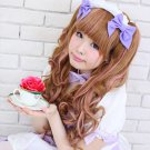 Japanese Harajuku zipper lovely Lolita brown pink mix curly cosplay wig 75cm 2 clip ponytails