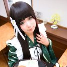 Is the order a rabbit? Ujimatsu Chiya long black 100cm straight anime cosplay party full wig