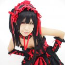 DATE A LIVE Tokisaki Kurumi long black anime cosplay party full wig 2 clip pobytails