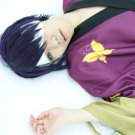 GINTAMA silver soul Takasugi Shinsuke short black purple anime cosplay party full wig