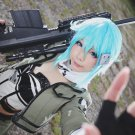 sword art online Asada Sinon short blue anime cosplay party full wig