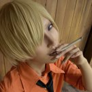 one piece Sanji short glod anime cosplay party full hair wig