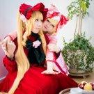 Rozen Maiden Reiner Rubin/Pure Ruby/ShinKu long Cosplay Wig Blonde Wavy ponytails 120cm
