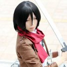 Attack on Titan Mikasa Ackerman short black costume cosplay party wig