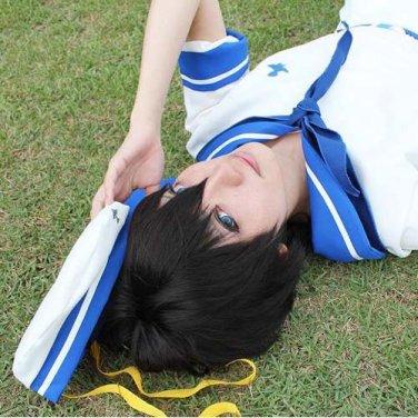 Free Haruka Nanase Anime Short Black Straight Cosplay Party Hair Wig