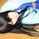 GINTAMA silver soul Katsura Kotarou long straight black cosplau anime full wig 80cm