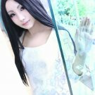 TIGER & BUNNY Tomoe Kaburagi long straight black cosplay anime full hair wig centre parting