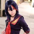Kill la kill Medium Deep blue mix red straight cosplay cos wig+Free Wig Cap