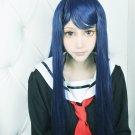 Danganronpa Dangan-Ronpa Sayaka Maizono dark blue Long straight 80cm Cosplay Wig Costume