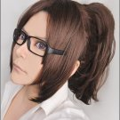 Attack on Titan Hanji Zoe Dark Brown Cosplay Wig clip on ponytail+ glasses