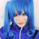 Kagerou Project ENOMOTO TAKANE blue cosplay wig + 2 curly ponytails +tattoo