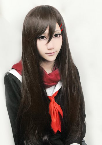 Kagerou Project TATEYAMA AYANO 80cm long straight dark brown cosplay wig
