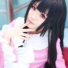 TouHou Project Houraisan Kaguya long 100cm straight black anime cosplay wig