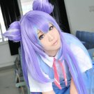 PLACE TO PLACE Miniwa Tsumiki long straight 150cm blue purple mix anime cosplay wig + 2 ears