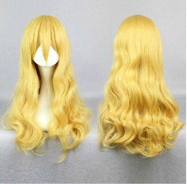 Shigatsu wa Kimi no Uso Kaori Miyazono 60cm long curly yellow anime cosplay wig