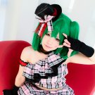 Macross F Ranka Lee short wig + two ponytails dark green anime cosplay wig