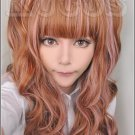 Japanese harajuku brown mix pink lovely Lolita cosplay wig 75cm curly wig + 75cm curly ponutails