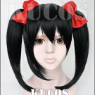 LOVE LIVE Yazawa Niko asymmetry sidebums Black anime Cosplay wig 2 tails + hair bowknot