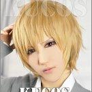 Ookami Shoujo to Kuro Ouji Kyoya Sata short linen mix gold anime cosplay party full wig